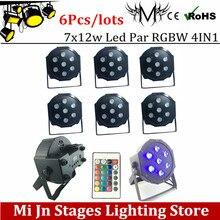 6pcs/lot Remote 7*12w lamp beads 7x12W led Par lights RGBW 4in1 flat par led dmx512 disco lights professional stage dj equipment