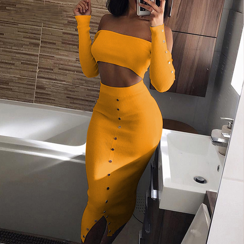 2 conjunto de duas peças feminina 2018 colheita saia sexy manga longa casual curto topo rebite clubwear feminino conjuntos conjunto