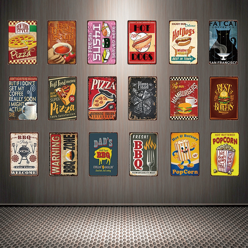 Home & Garden Bbq Gril Party Zone Retro Plaque Steak House Metal Tin Signs Food Meat Poster Barbecue Menu For Bar Kicken Home Wall Decor Yd009 Year-End Bargain Sale Home Decor