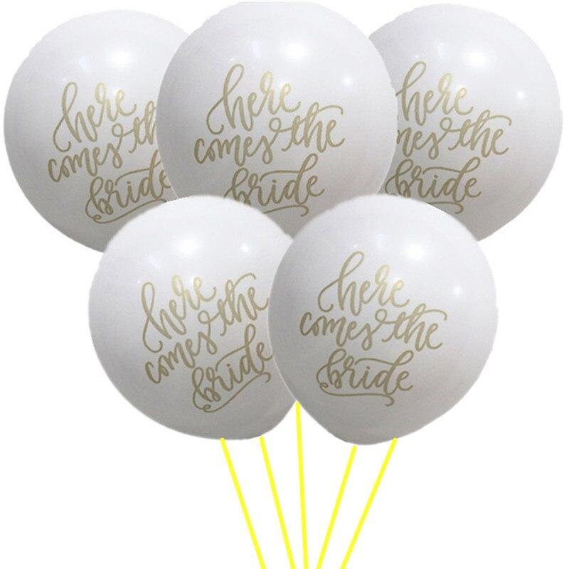 20 штук здесь идет Невеста шар с Goldern записи Винтаж Свадьба Знак Церемонии фон шары брак овсянка