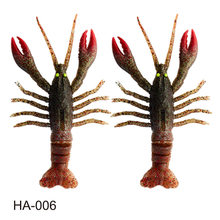 2pcs crazy Crawfish soft bait fishing lure life-like signal crayfish jig head new TPE rubber jointed paddle tail for zander pike(China)