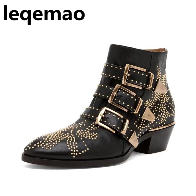 Hot Sale Fashion 100% Real Leather Ankle Boots Women Pointed Toe Rivets Flower Buckle Martin Boots High Quality Shoes Leqemao fashion hot sale genuine leather low heels pointed toe rivets buckle square heel autumn winter women ankle boots
