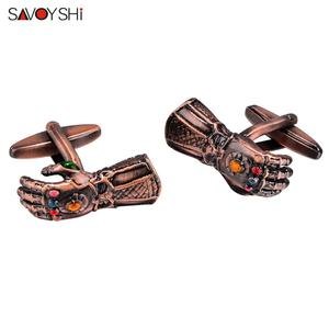 Image 4 - SAVOYSHI Novelty gloves Shaped Cufflinks for Mens Suit Shirt Cuff High quality Red Copper Cuff links Brand Male Jewelry Gift