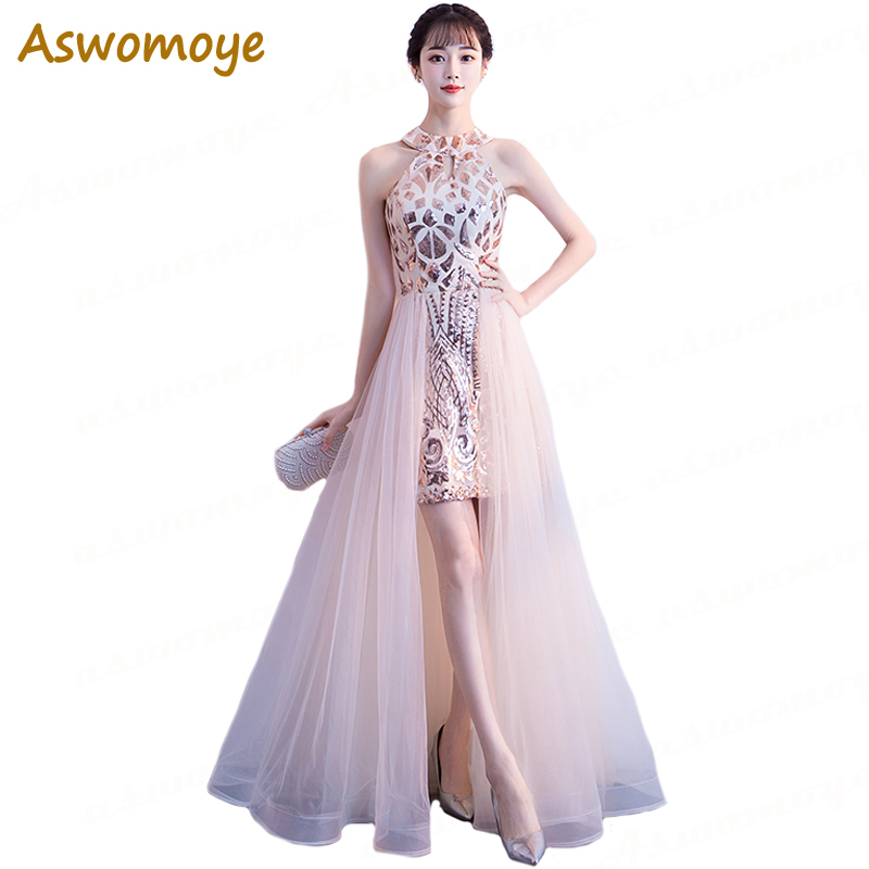 Aswomoye 2018 New Stylish Long Evening Dress Bottom With Net Inner Dress Sequined Party Dresses Sequin Prom Dress Robe De Soiree