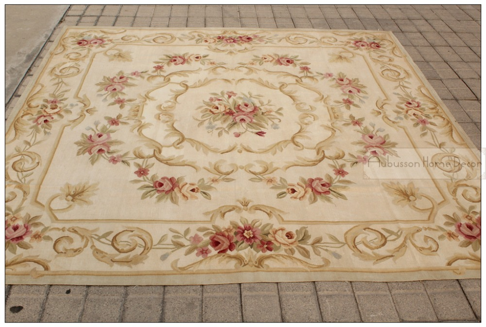 7x7 square antique french decor aubusson area rug pastel for Tappeti country chic