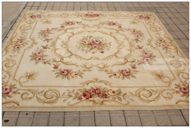 7x7 Square Antique French Decor Aubusson Area Rug Pastel Country Home Free Ship New