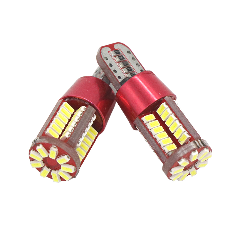 2xT10 Led car bulb w5w canbus super bright 57smd width lamp NO Error Car marker Auto Wedge license lights bulb parking light 12V 4pcs super bright t10 w5w 194 168 2825 6 smd 3030 white led canbus error free bulbs for car license plate lights white 12v
