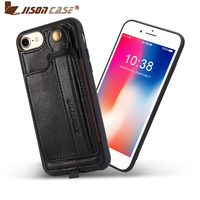 Jisoncase Leather Case For iPhone 8 4.7 With Card Slot and Lanyard Design Vintage Luxurious Fashion Phone Cases Wallet Case