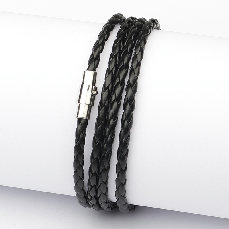 NIUYITID Magnetic Buckle Bracelet For Men Accessories Hand Knitted Braided PU Leather Rope Braclets Male Jewelry armband mannen