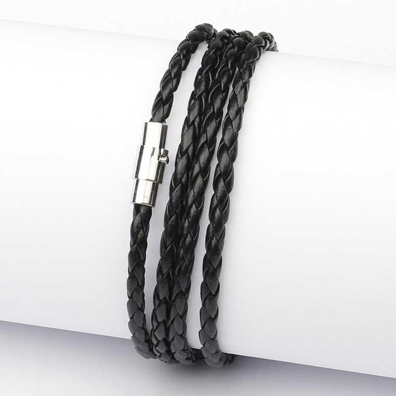 Niuyitid fivela magnética pulseira para homens acessórios mão malha trançado couro do plutônio corda braceletes masculino jóias braçadeira mannen
