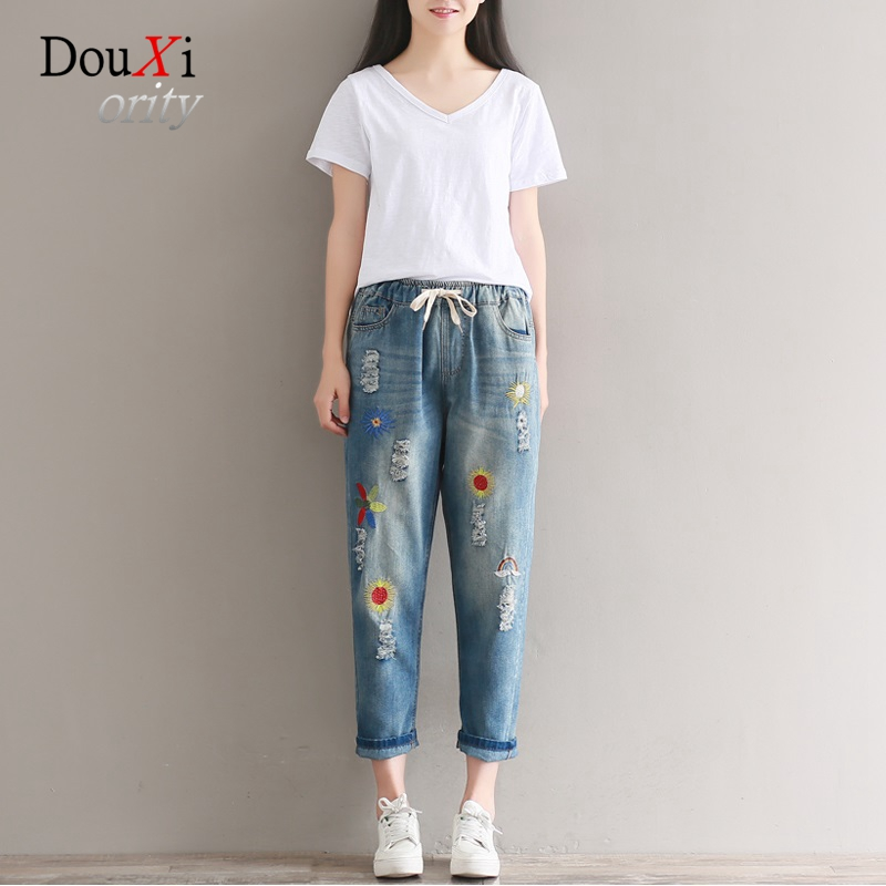 Jeans Women Embroidery Loose Casual Harem Pants Elastic Waist Hole Ripped Distressed Boyfriend Denim Pencil Trousers Ankle-lengt new summer vintage women ripped hole jeans high waist floral embroidery loose fashion ankle length women denim jeans harem pants