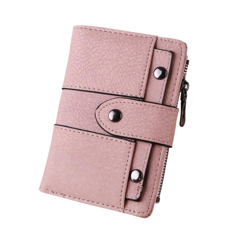 2018 Brand Latest Soft Leather Short Women Wallet Change Hasp Clasp Purse Clutch Money Phone Card Holder Female Wallets fashion girl change clasp purse money coin purse portable multifunction long female clutch travel wallet portefeuille femme cuir