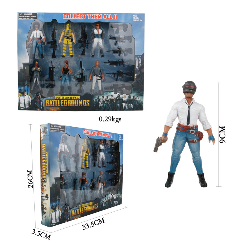 Game Playerunknowns Battlegrounds Eat Chicken Action Figure Toys 9cm PUBG Characters Dolls Weapons Accessories Kid Party Gift
