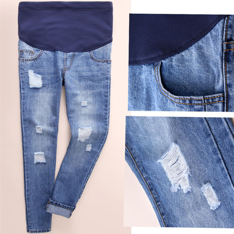 Hot Personality Hole Maternity Jeans Pregnancy Clothing Large Size Maternity Women Loose Trousers Pregnant Cotton Jeans Pants ohryiyie women high waisted jeans boyfriend harem pants women loose ripped hole jeans for women fashion trousers femme plus size page 3