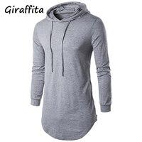 2018 Giraffita Hoodies Men Sudaderas Hip Hop Mens Brand Solid Color Pullover Hoodie Sweatshirt Slim Fit