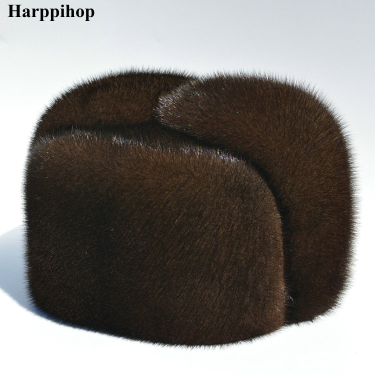 Outono e inverno pele de vison casuais idosos chapéu de pele de vison chapéu lei feng chapéu para o homem