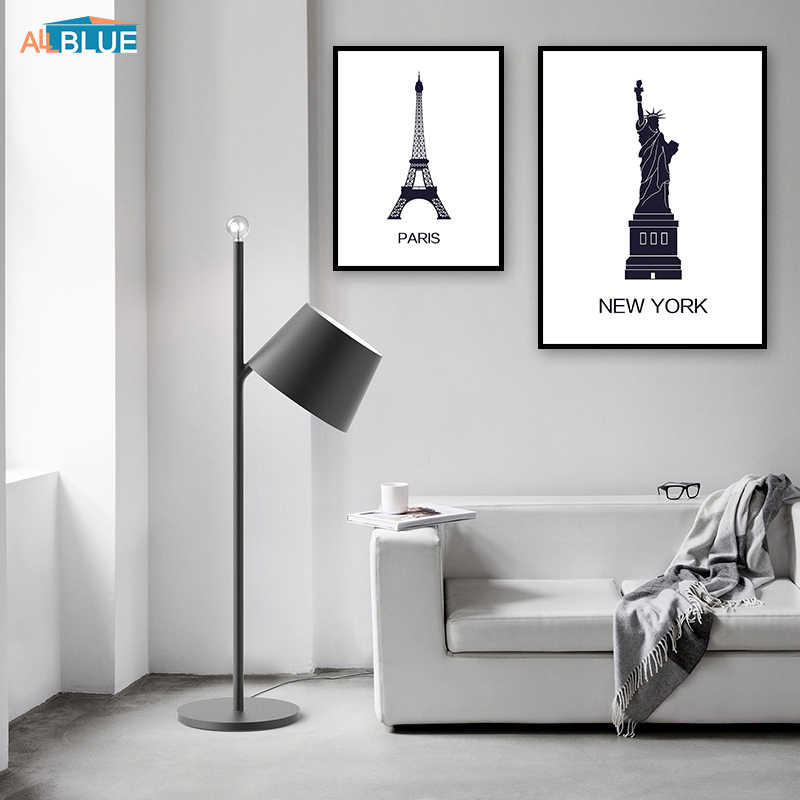 Famous Building New York London Paris Black And White Wall Art Canvas Painting Nordic Posters And Prints Picture For Living Room
