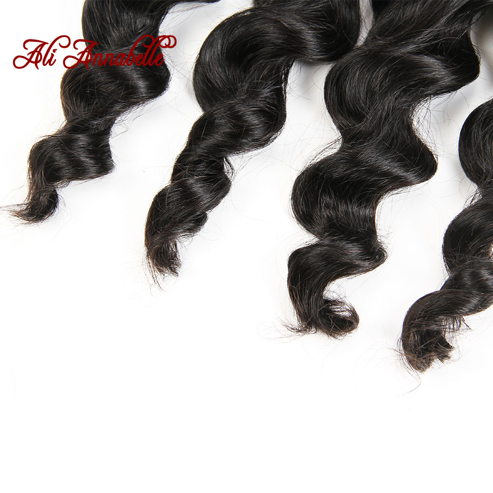 ALI ANNABELLE HAIR Brazilian Loose Wave Lace Closure Free Middle Part 4PCS Human Hair Bundles With Closure Remy Hair Extension