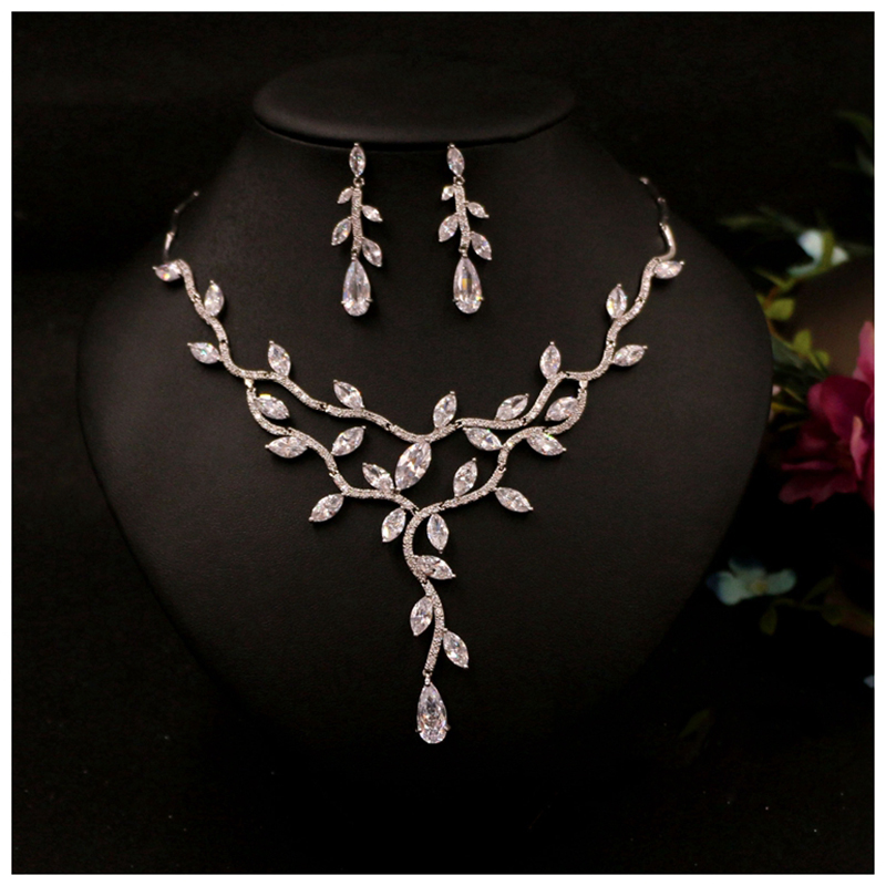 Zircon Wedding Jewelry Sets Choker Necklace Wedding Necklaces and Earrings for Women Floral Wedding Accessories stylish faux zircon tattoo choker necklace for women
