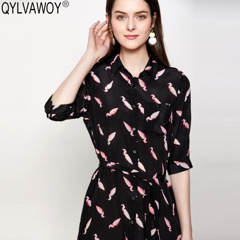 Настоящее шелковое весеннее платье рубашка женская одежда 2020 винтажное черное платье миди с животным принтом элегантные женские платья