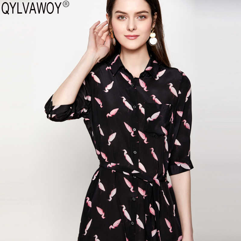 Camisa de Primavera de seda Real vestido de mujer ropa 2019 Vintage Animal estampado negro Midi vestido elegante señoras Vestidos LQ1910