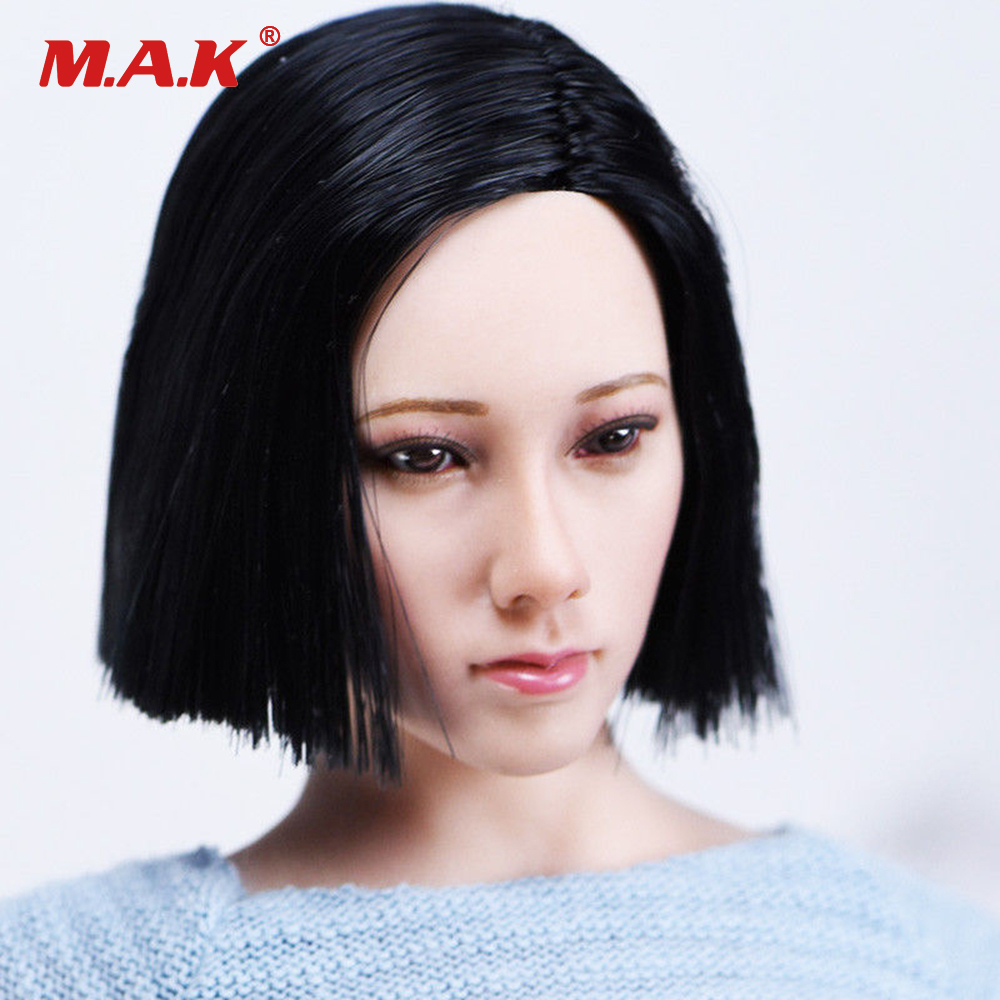 1/6 Female Head Sculpt with Short Black Hair Female Beauty Head Carving for 12 PHICEN TBLeague Figure Toys dstoys d 005 1 6 scale female head sculpt beauty girl headplay long curly hair for 12 ht phicen action figure