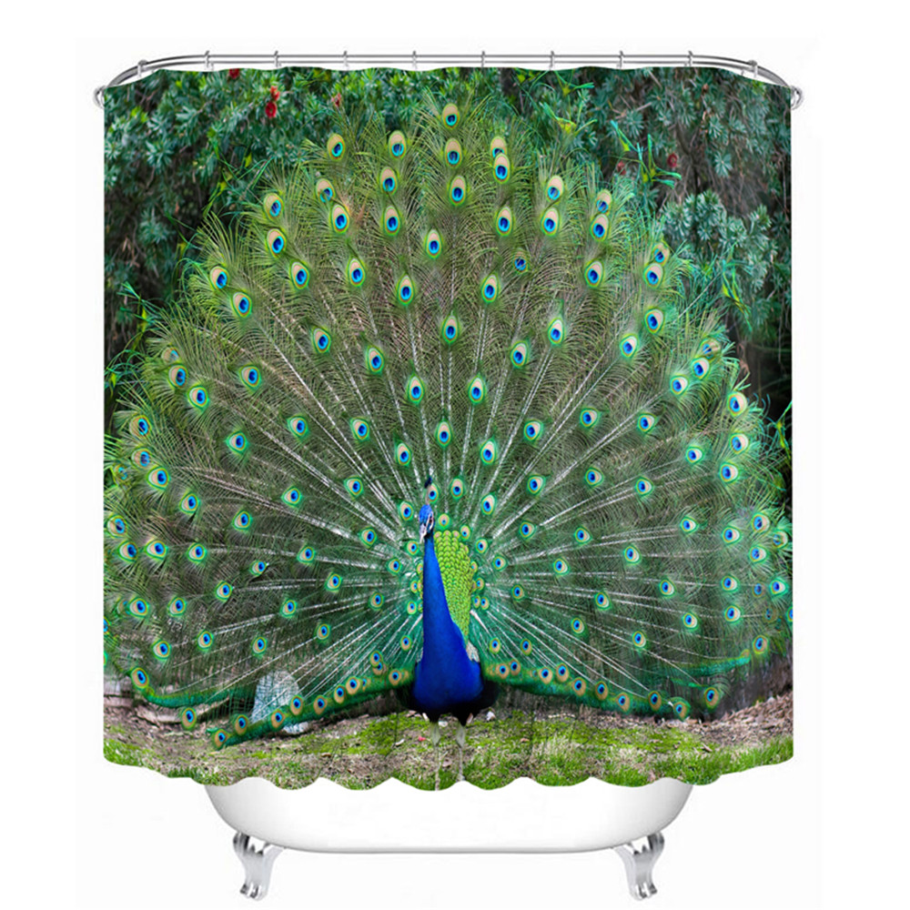 ₩3D aceite de pavo real diseño de baño Cortina de ducha impermeable ...