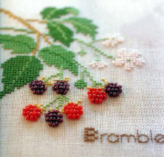 Set Of 4 Patterns Bead Embroidery Diy Kit Cross Stitch Kit Cranberry