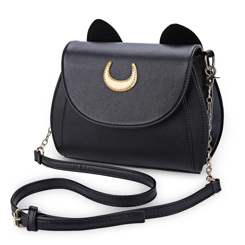 Kawaii Summer Sailor Moon Ladies Handbag Black Luna Cat Shape Chain Shoulder Bag