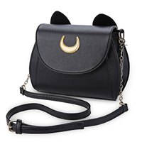 Kawaii Summer Sailor Moon Ladies Handbag Black Luna Cat Shape Chain Shoulder Bag PU Leather Women
