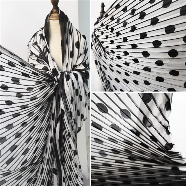 50cm*145cm/piece Wave point stripe black and white pleated polka dot print dress skirt skirt designer fabrics