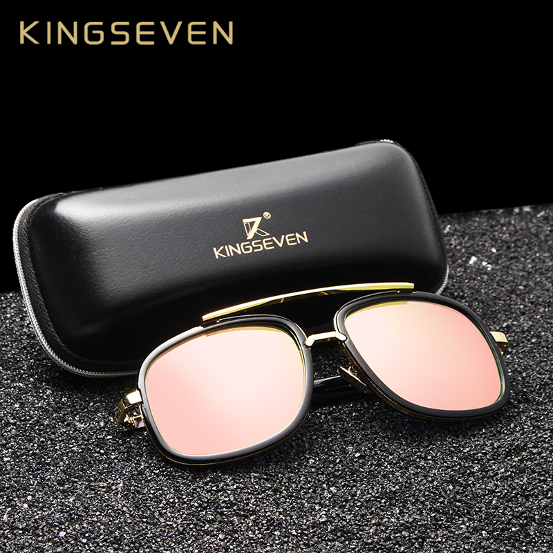 KINGSEVEN Fashion Unisex რეტრო ალუმინის სათვალე მამაკაცის ლინზების ბრენდის დიზაინერი რთველი მზის სათვალეები ქალებისათვის UV400