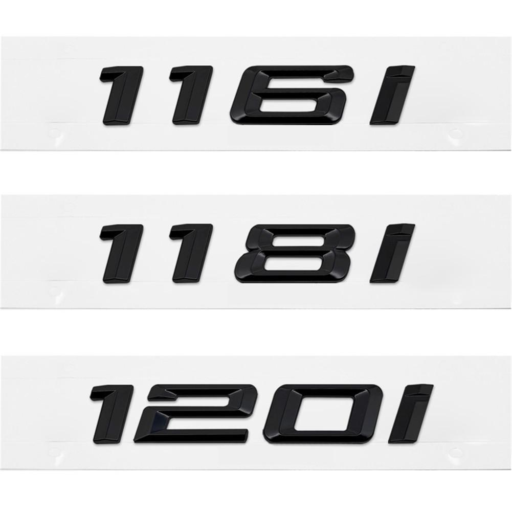 3D Metal Black Sticker 116i <font><b>118i</b></font> 120i 130i car rear boot emblems number letter badge for <font><b>BMW</b></font> 1 Series E81 E82 E87 E88 <font><b>F20</b></font> F21 image