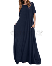 Women Half Sleeve Solid Round Neck Long Maxi Dress CUERLY 2019 Casual Loose Elegant Robe Bodycon Dresses Plus Size