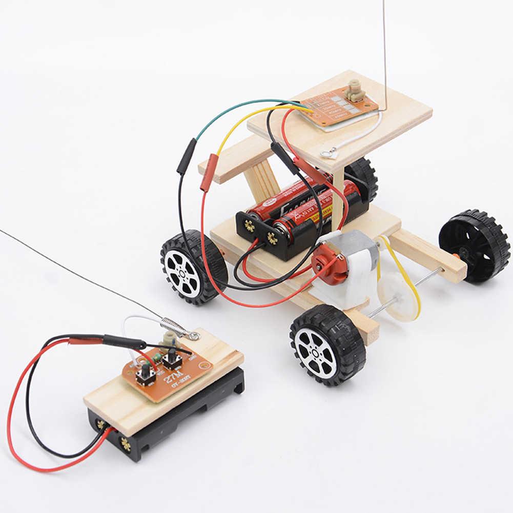 Draadloze Veilig DIY Set Houten Gear Action Racing Model Kit Radio Kennis Fysieke Wetenschap Experimenten Afstandsbediening Gemonteerd