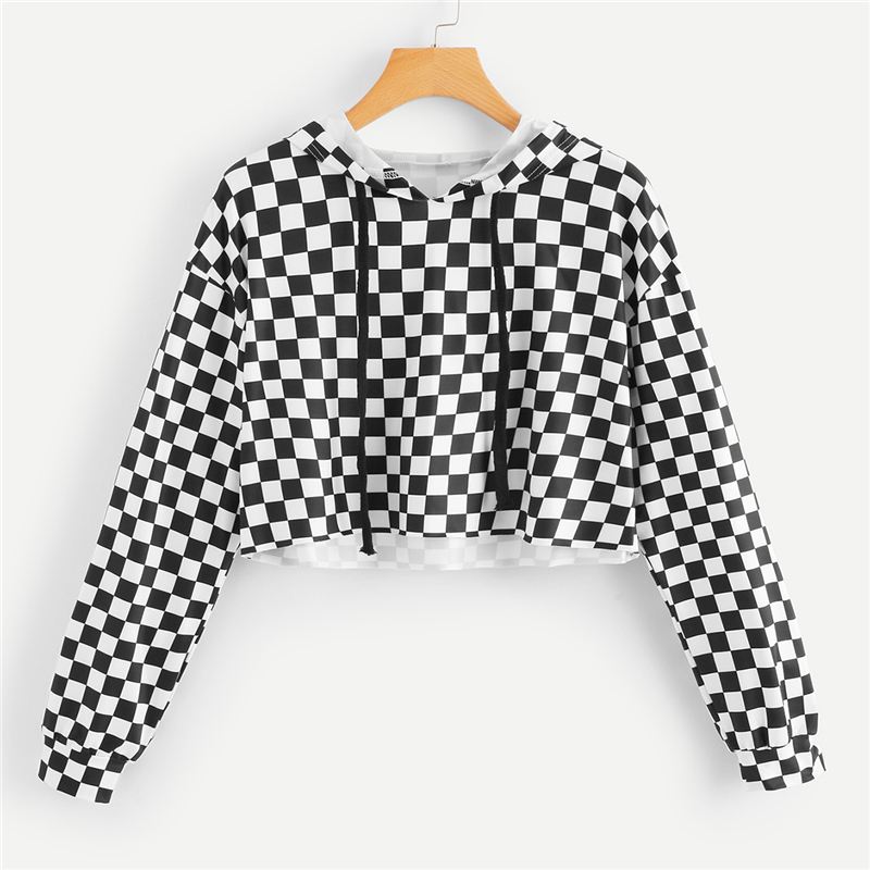 ROMWE Women Hoodies Sweatshirt Gingham Drawstring Crop Hoodie Tee Womens Pullover Tracksuits Plaid Tops Autumn Sweatshirts