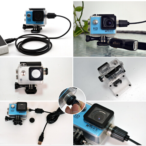 Camera Accessories Waterproof Case Charger Shell USB Cable For SJCAM SJ4000 Air Sj9000 C30 C30R EKEN H9R For Motocycle Clownfish