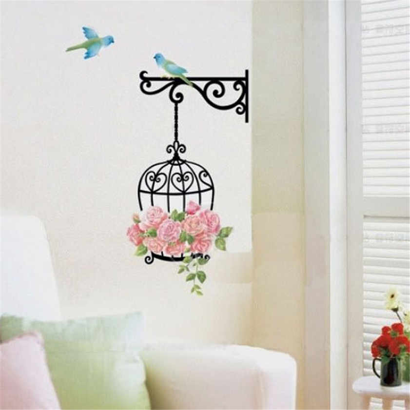 2017 HOT High Quality 2016 Fashion Flower Bird Wall Decal Sticker Home Decor Vinyl Removeable Mural Sticker Dropshipping
