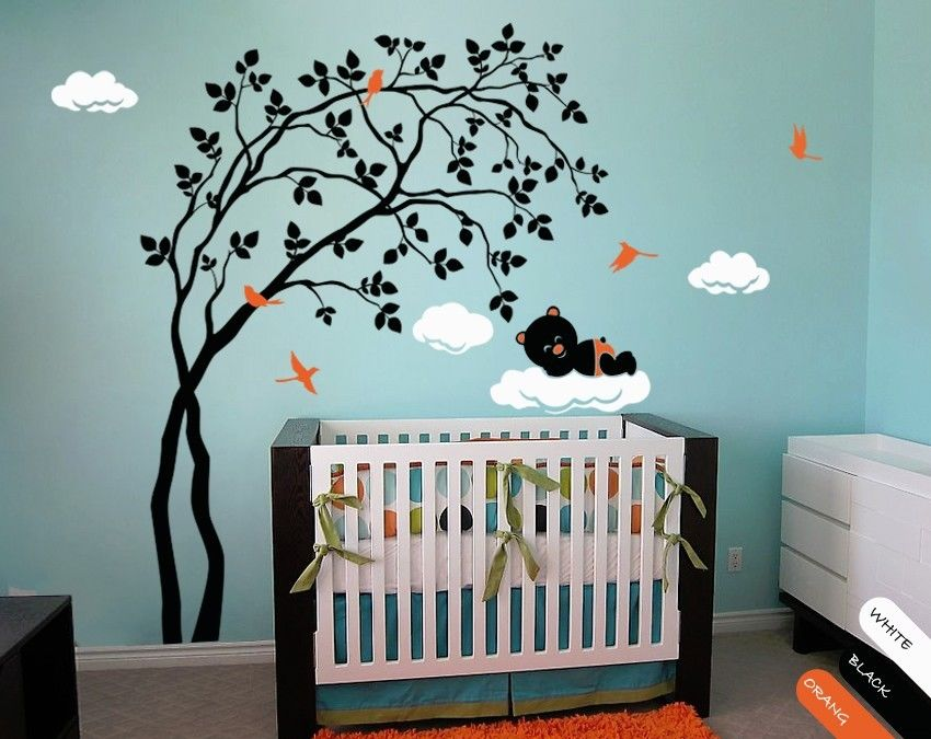 Modern Baby Nursery Wall Decal With Birds Cute Bear Sleeping On Cloud 200cmX156cm In Stickers From Home Garden Aliexpress