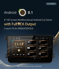 "Android 8.1 8 ""Jogador Rádio Do Carro GPS RCA completo OBD Sem DVD para vw Volkswagen Golf Plus Passat CC tiguan Touran Sharan Skoda Assento(China)"