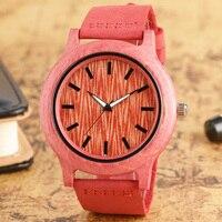 2017 Pink Màu Sắc Đồng Hồ Gỗ Phụ Nữ Đơn Giản Thời Trang Analog Tre Giản Dị Cổ Tay Watch Với Đồng Hồ Da Chính Hãng Reloj de madera