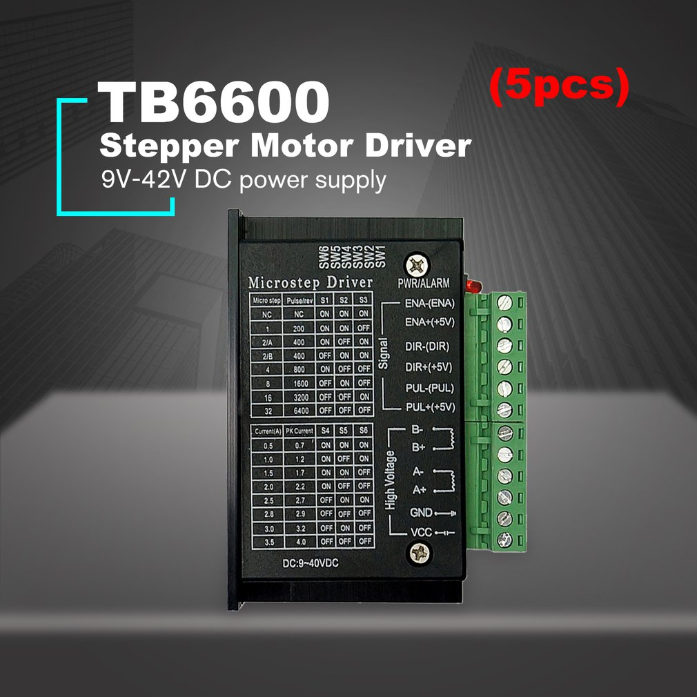 5PCS TB6600 4.0A Stepper Motor Driver 42/57/86 32 Segments Upgraded Version 42VDC for CNC Router machine Engraving Drilling5PCS TB6600 4.0A Stepper Motor Driver 42/57/86 32 Segments Upgraded Version 42VDC for CNC Router machine Engraving Drilling