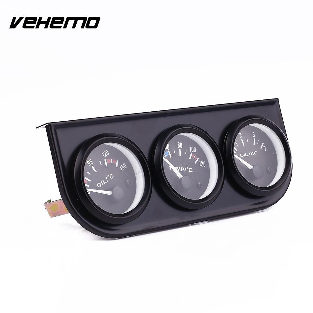 VEHEMO Автомобильный датчик температуры масла Температура воды по Цельсию пресс 3 в 1 Набор 52 мм хром автомобильный измеритель приборной панел