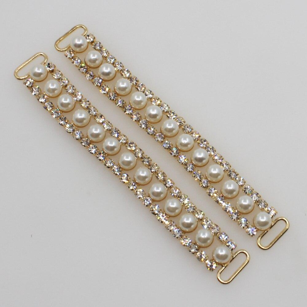 2018 New 10*100MM 2PCl Golden Charm Chain Rhinestone Pearl Bikini Connectors Buckle Metal Clear Crystal Rhinestone Bikini Buckle