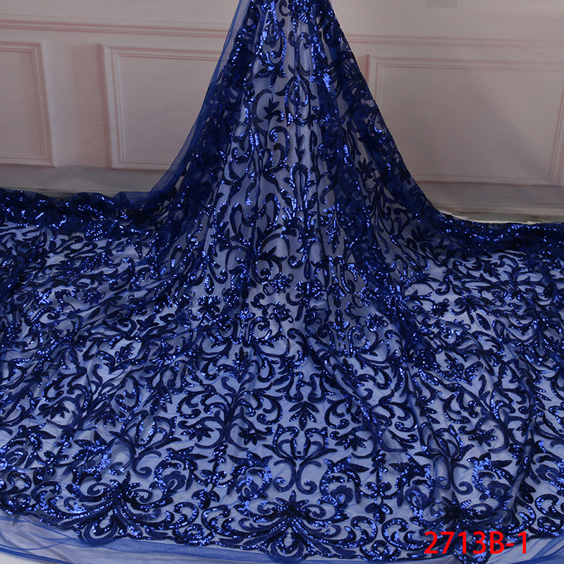 Royal Blue Sequins Lace Fabric High Quality Nigerian African Lace Fabrics Latest French Tulle Lace Fabric