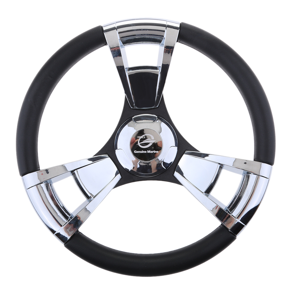 350mm Boat Steering Wheel Polished 3 Spoke Boats With 3/4 Inch Shaft Boat Accessories Marine For Vessels Yacht