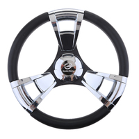 350mm Boat Steering Wheel Polished 3 Spoke boats with 3/4 Inch Shaft Boat Accessories Marine for Vessels Yacht|Marine Hardware|Automobiles & Motorcycles -