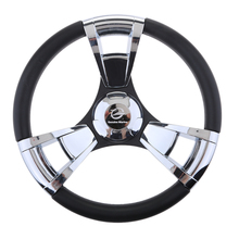 лучшая цена 350mm Boat Steering Wheel Polished 3 Spoke boats with 3/4 Inch Shaft Boat Accessories Marine for Vessels Yacht