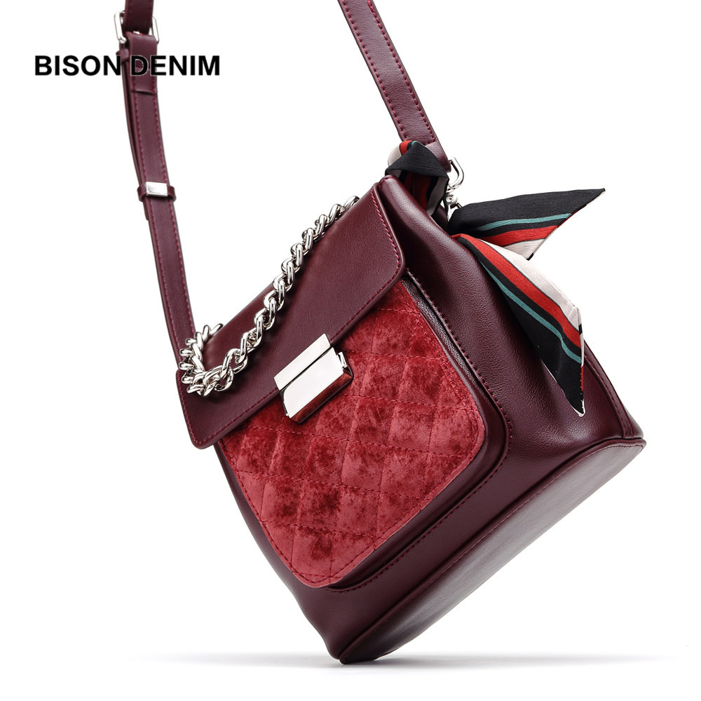 BISON DENIM Brand Women Bags Genuine Leather Shoulder Bag Luxury Handbags Women Bags Designer Bow Scarf Crossbody Bag N1575 bison denim brand women bags genuine leather shoulder bag female for women 2018 luxury crossbody bag bolsa feminina n1560