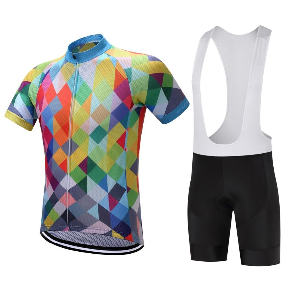 2018 m. Vasaros trumpų rankovių dviračių Jersey rinkinys Ropa Ciclismo MTB dviračių aprangos dviračių megztiniai su silicio dioksido gelio šortais